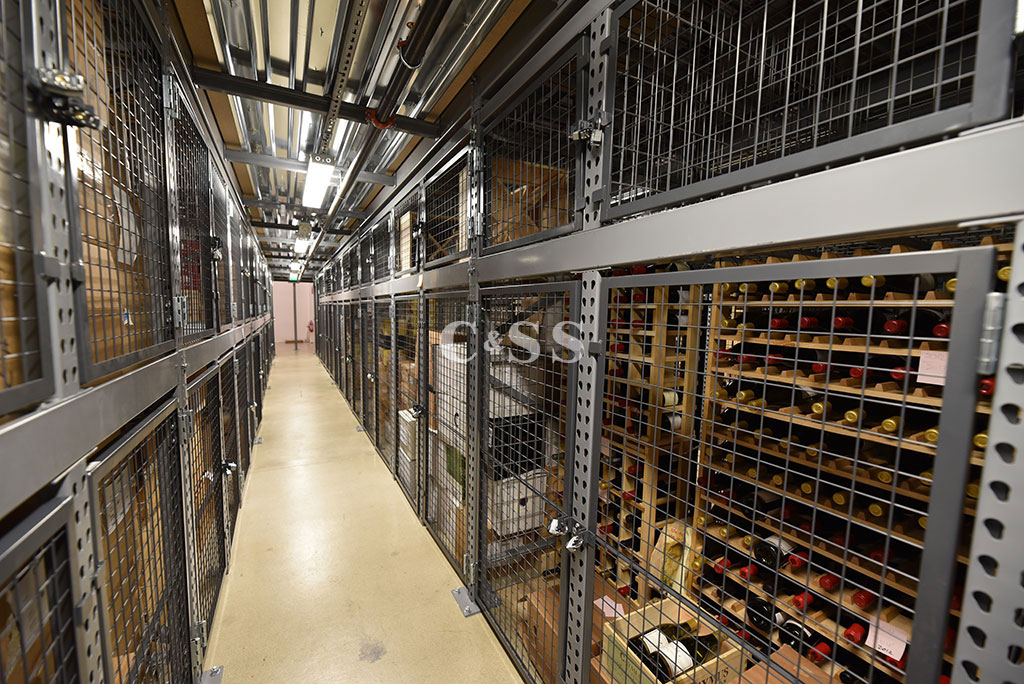 San Diego Wine Company Aisle Showcasing the Large Walk in Security Cages